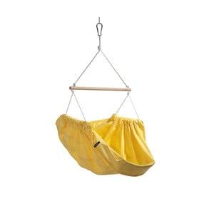 Žltá hojdačka z bavlny pre dospelých so zavesením do stropu Hojdavak Maxi