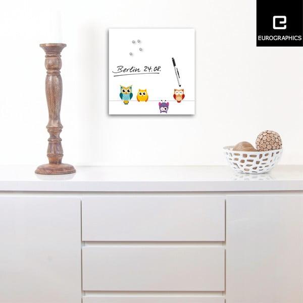 Magnetická tabuľa Funny Owls, 30 x 30 cm