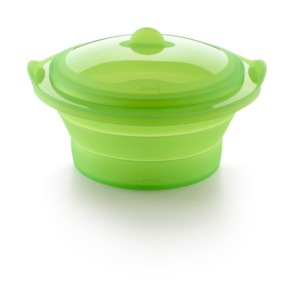 Zelená silikónová nádoba na pečenie v páre Lékué Collapsible Steamer