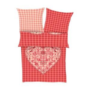 Obliečky Fine Flannel Red Heart, 140x200 cm
