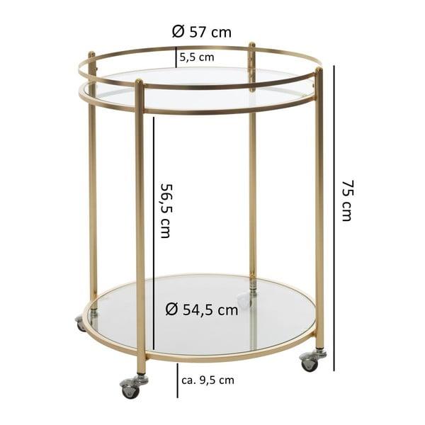 Príručný stolík v zlatej farbe na kolieskach Skyport James, ⌀ 57 cm