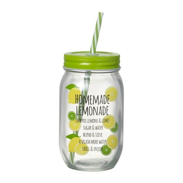 Zelený pohár so slamkou Parlane Homemade Lemonade
