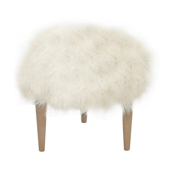 Taburet Happy Barok Furry, biely