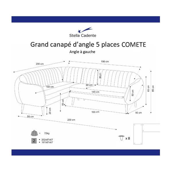 Tyrkysovomodrá rohová trojmiestna pohovka Scandi by Stella Cadente Maison Comete, ľavý roh