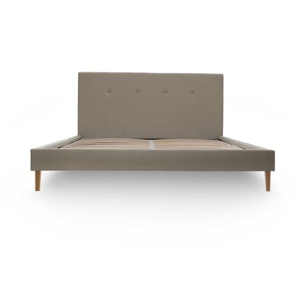 Tmavobéžová posteľ s prírodnými nohami Vivonita Kent, 180 × 200 cm