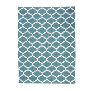 Vlnený koberec Geometry Guilloche Petrol Green & White, 160x230 cm