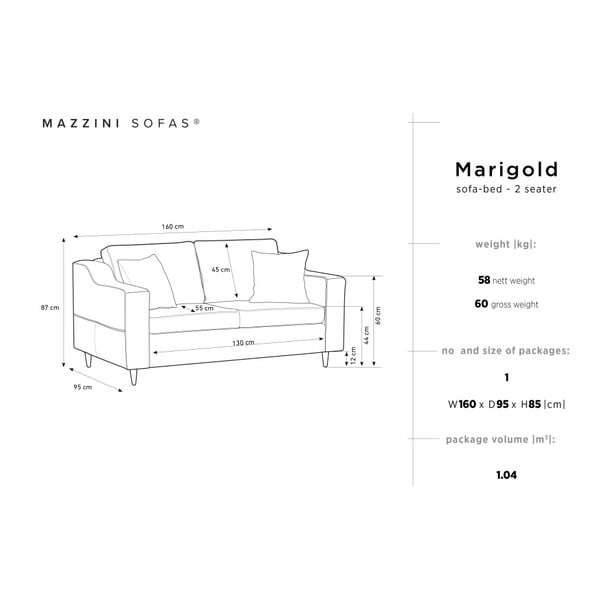 Béžová dvojmiestna pohovka Mazzini Sofas Marigold