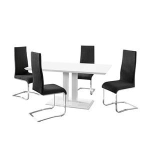 Sada jedálenského stola a 4 čiernych stoličiek Støraa Mai