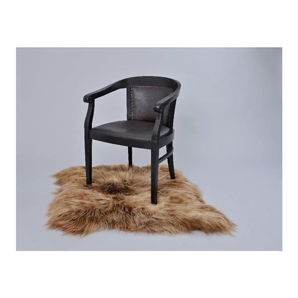 Hnedý kožušinový koberec s dlhým chlpom, 90 x 80 cm
