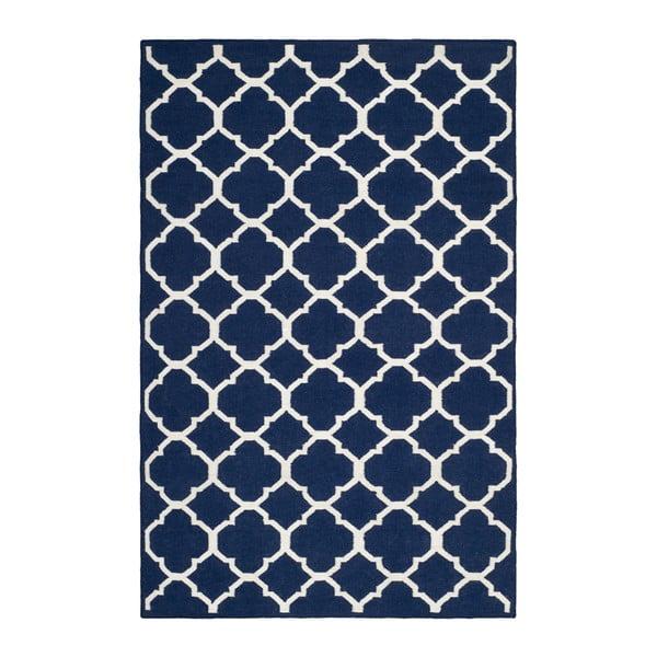 Vlnený koberec Tahla, 121x182 cm, modro-biely