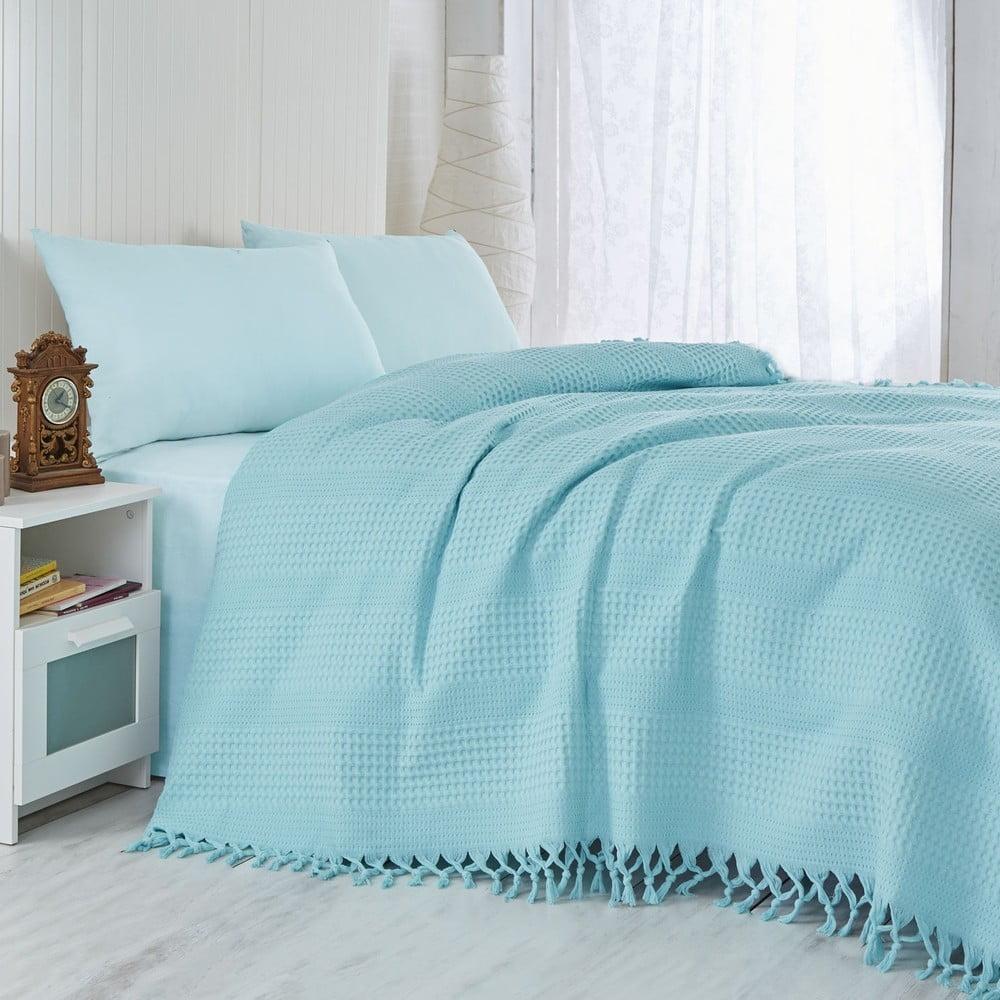 Tyrkysová ľahká prikrývka na posteľ Pique, 220 × 240 cm