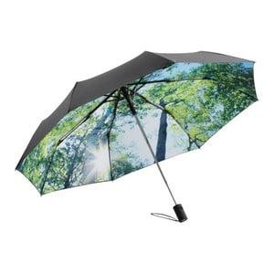 Zeleno-čierny skladací dáždnik Forest