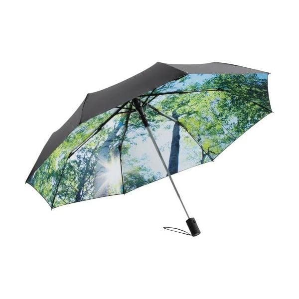 Zeleno-čierny skladací dáždnik Ambiance Forest, priemer 100 cm