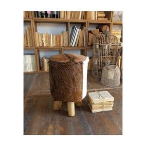 Stolička z teakového dreva a kozej kože Orchidea Milano
