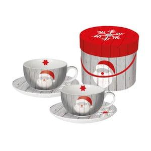 Sada 2 porcelánových hrnčekov na cappuccino s vianočným motívom v darčekovom balení PPD Santa On Wood, 200 ml