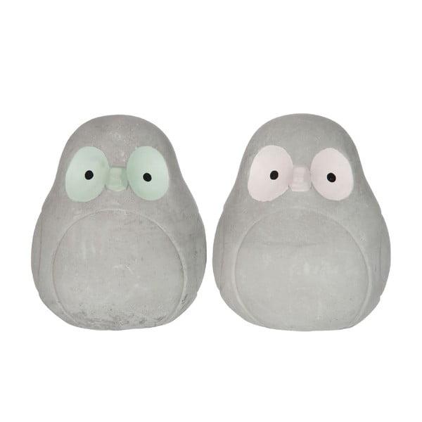 Sada 2 cementových dekorácií Owl Mint