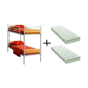 Set bielej poschodovej postele a 2 matracov 13Casa Bis, 90 x 190 cm