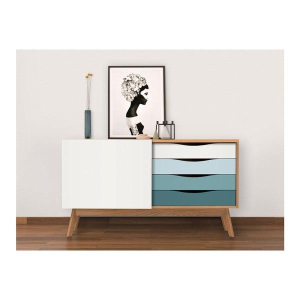 Komoda s modrými zásuvkami Woodman Avon