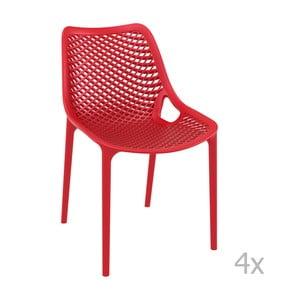 Sada 4 červených záhradných stoličiek Resol Grid