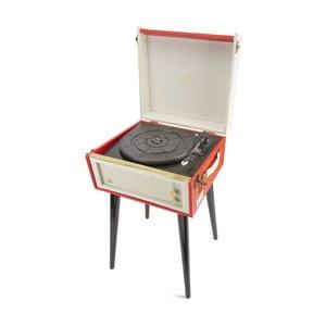 Červený gramofón s rádiom na nohách GPO Bermuda Red