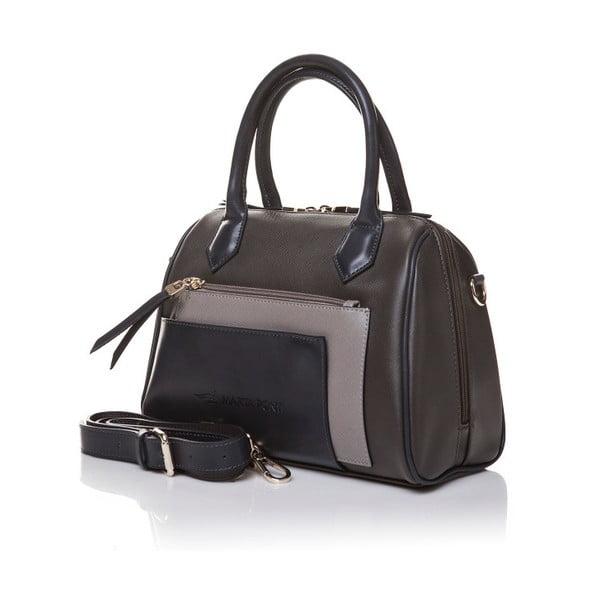 Kožená kabelka do ruky Marta Ponti Classy, sivá/béžová