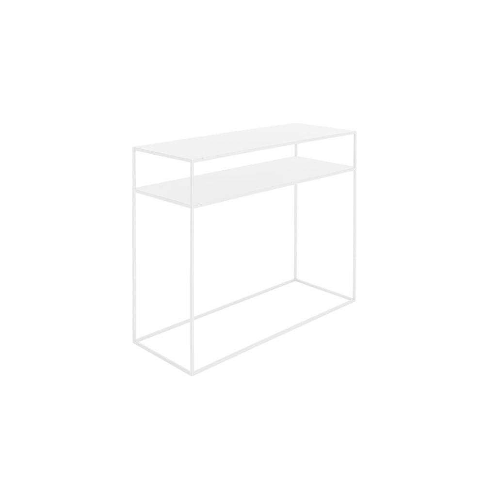 Biely konzolový kovový stôl s policou Custom Form Tensio, 100 x 35 cm