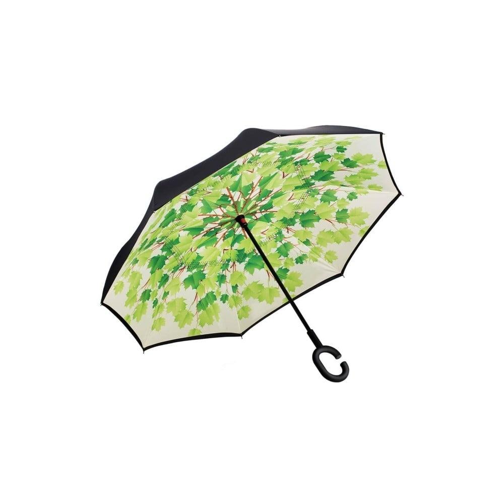 Zeleno-čierny dáždnik Leaves, ⌀ 105 cm