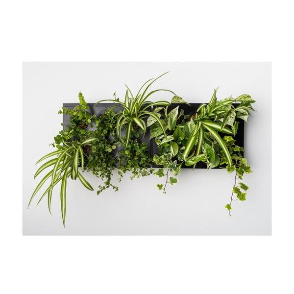 Vertikálny kvetináč s neviditeľným stojanom HOH! Duo Smart Nero, 78x27 cm