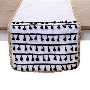 Bavlnený behúň na stôl InArt Tassels, 140 x 40 cm