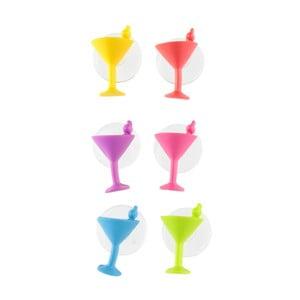 Sada 6 prísavkových rozlišovačov na koktaily Le Studio Cocktail Glass Markers