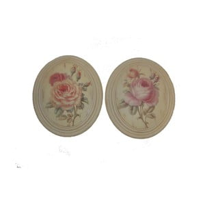 Set 2 oválnych obrazov Vintage Rose