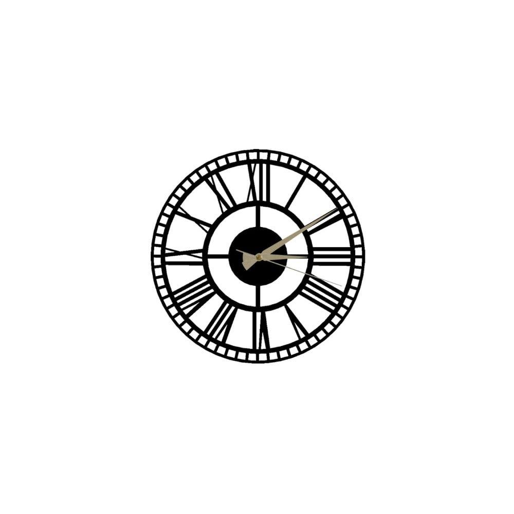 Čierne nástenné hodiny Roman Clock 2, ⌀ 50 cm