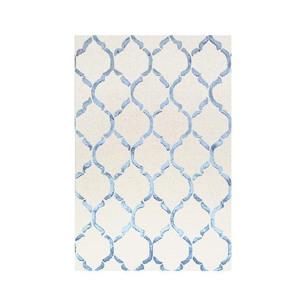 Ručne tuftovaný modrý koberec Chain, 153 x 244 cm
