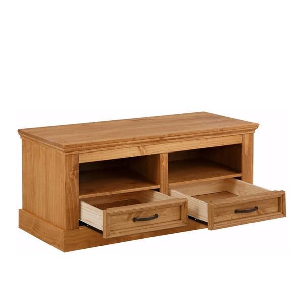 Hnedá lavica z masívneho borovicového dreva s 2 zásuvkami Støraa Suzie