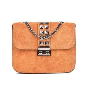 Koňakovohnedá kožená kabelka Mangotti Bags Mia