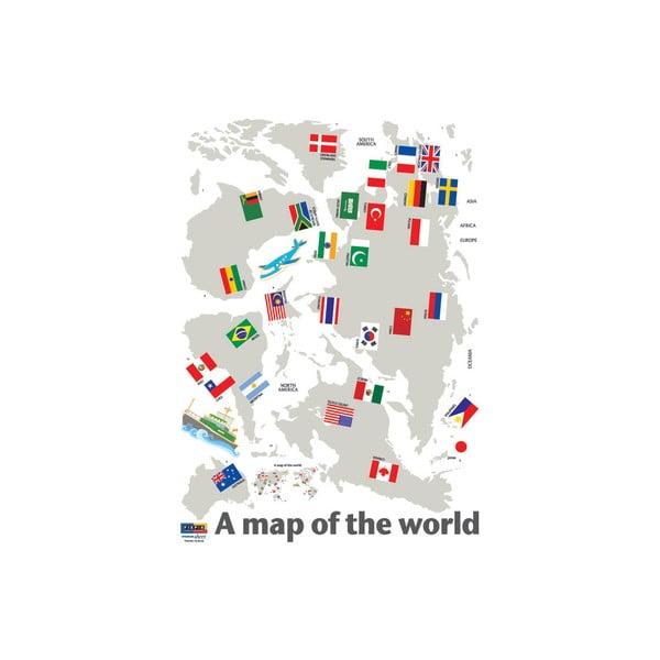 Samolepka World Map and Flags