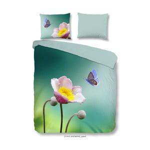 Bavlnené obliečky na dvojlôžko Good Morning Anemone Petrol, 200×240 cm