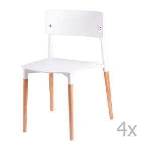 Sada 4 bielych jedálenských stoličiek sdrevenými nohami sømcasa Claire