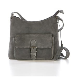 Sivá kožená kabelka Gianni Conti Honora