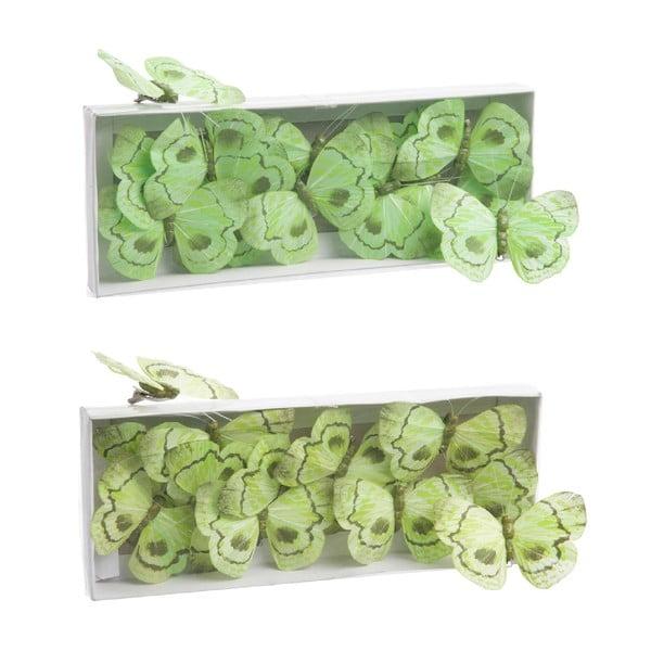 Sada dekoratívnych motýľov Green Mix, 24 ks