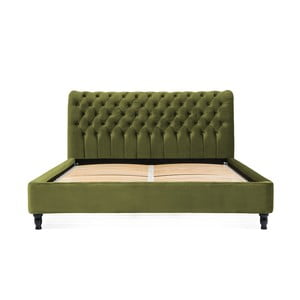 Olivovozelená posteľ z bukového dreva s čiernymi nohami Vivonita Allon, 180 × 200 cm