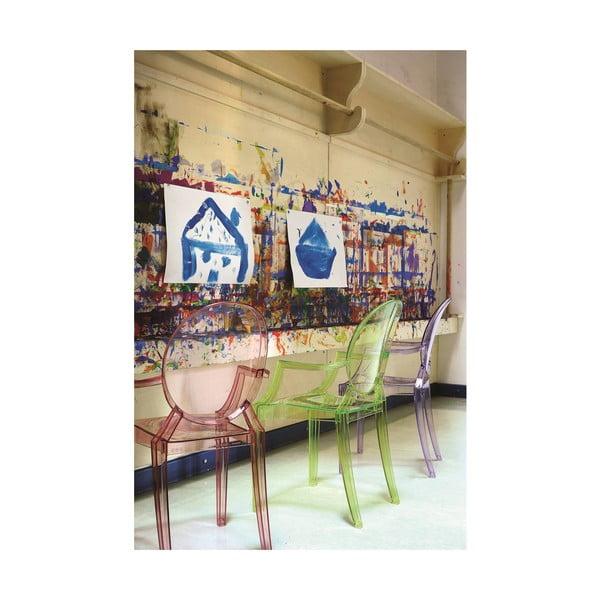 Svetloružová transparentná stolička Kartell Lou Lou Ghost