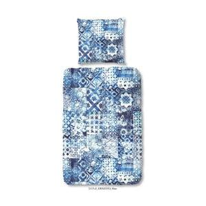 Obliečka na dvojlôžko z bavlneného saténu zouzou Ernesto Blue, 200 x 200 cm