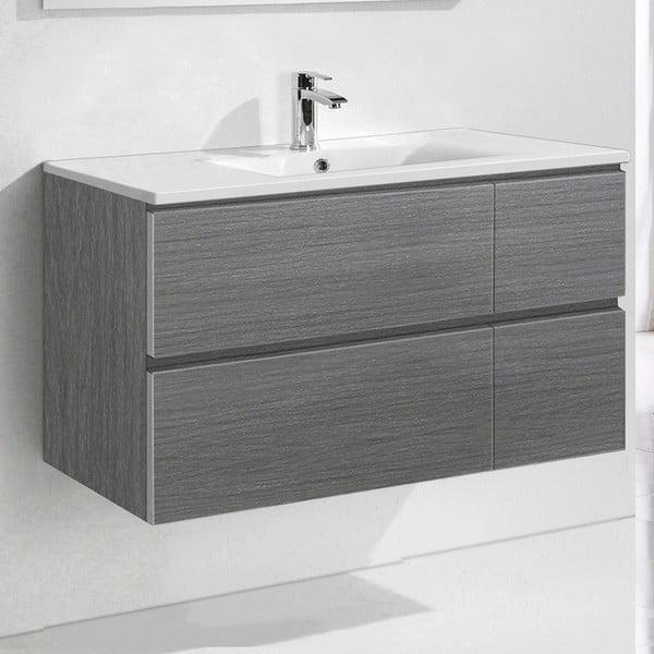 Kúpeľňová skrinka s umývadlom a zrkadlom Capri, odtieň sivej, 100 cm