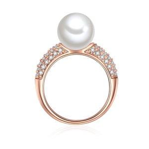 Prsteň vo farbe ružového zlata s bielou perlou Perldesse Muschel, veľ. 58