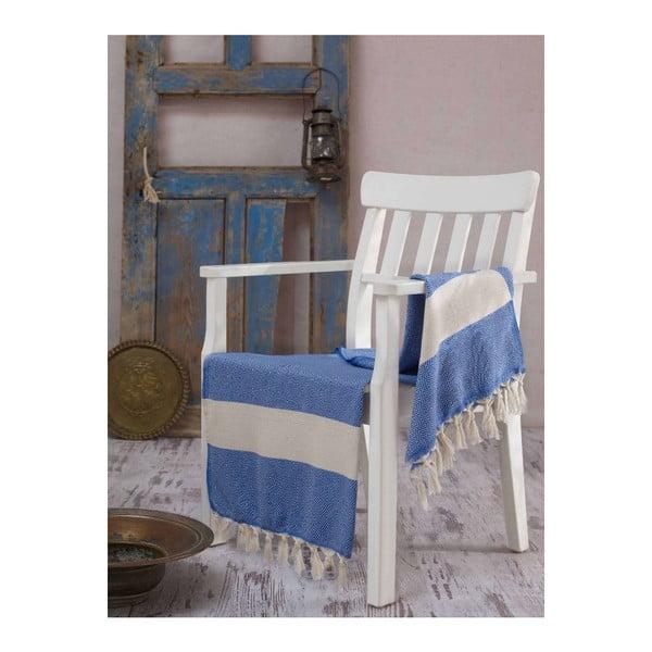 Modro-biela osuška Hammam Elmas, 100x180cm