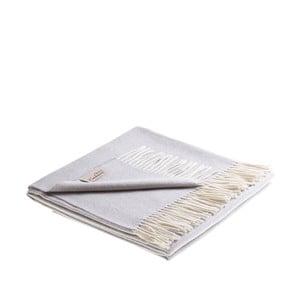 Svetlosivá deka z jahňacej vlny a kašmíru Lanerossi Salice, 130 × 180 cm