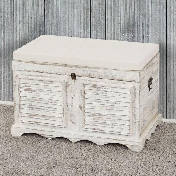 Biela lavica s úložným priestorom Mendler Shabby