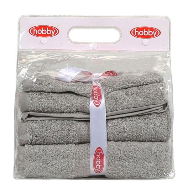 Set 3 sivých uterákov a osušky Rainbow