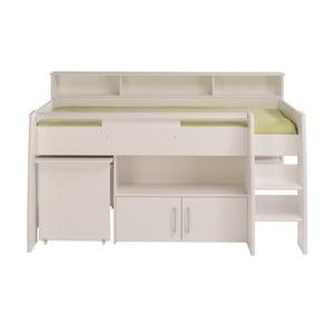 Biela multifunkčná jednolôžková posteľ Parisot Adelise, 90×200 cm